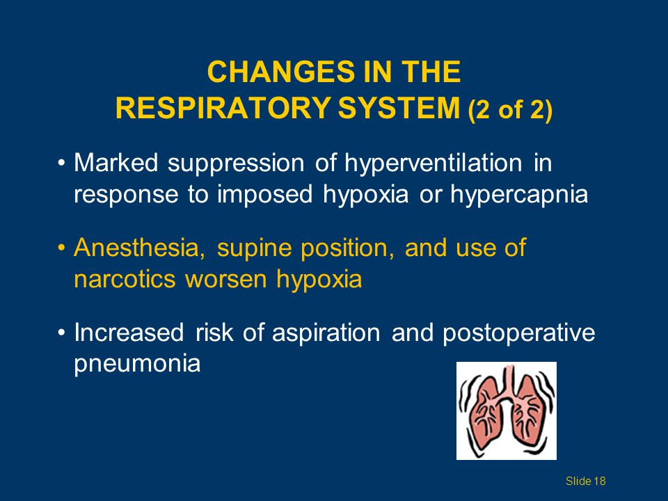 CHANGES IN THE RESPIRATORY SYSTEM (2 of 2) Marked suppression of hyperventilation in response to imposed hypoxia or hypercapnia Anesthesia, supine position, and use of narcotics worsen hypoxia Increased risk of aspiration and postoperative pneumonia Slide 18