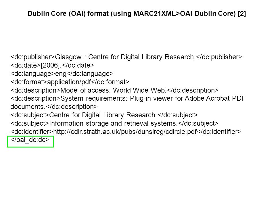 Glasgow : Centre for Digital Library Research, [2006]. eng application/pdf Mode of access: World Wide Web. System requirements: Plug-in viewer for Ado