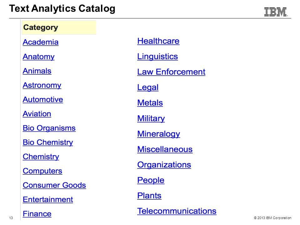 © 2013 IBM Corporation13 Text Analytics Catalog