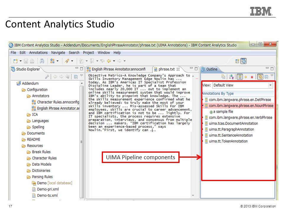 © 2013 IBM Corporation Content Analytics Studio 17 UIMA Pipeline components