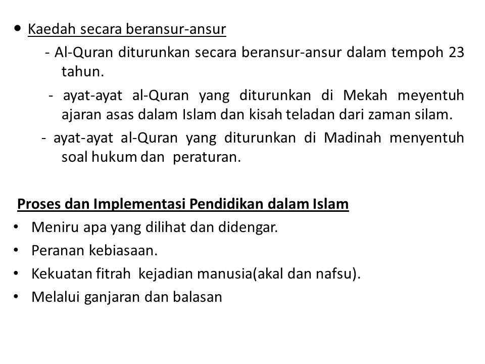 Kaedah secara beransur-ansur - Al-Quran diturunkan secara beransur-ansur dalam tempoh 23 tahun.