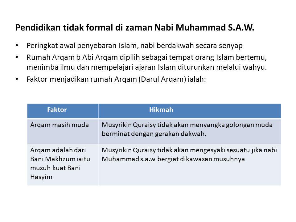 Pendidikan tidak formal di zaman Nabi Muhammad S.A.W.