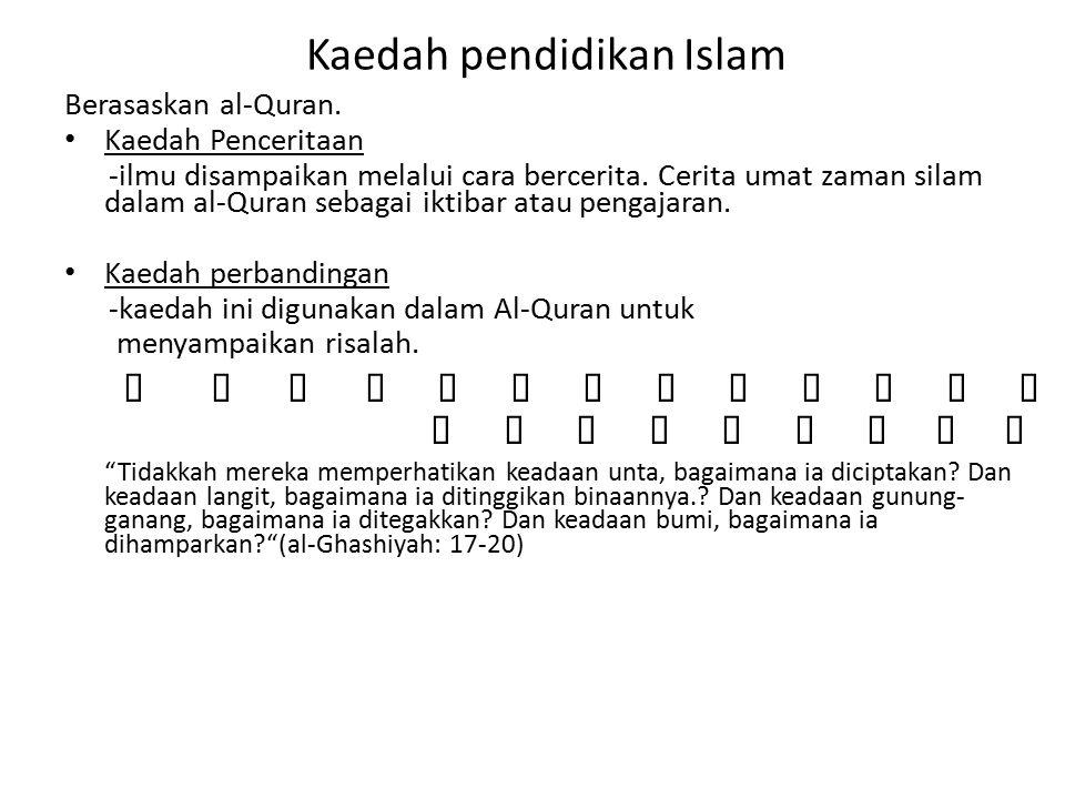 Kaedah pendidikan Islam Berasaskan al-Quran.