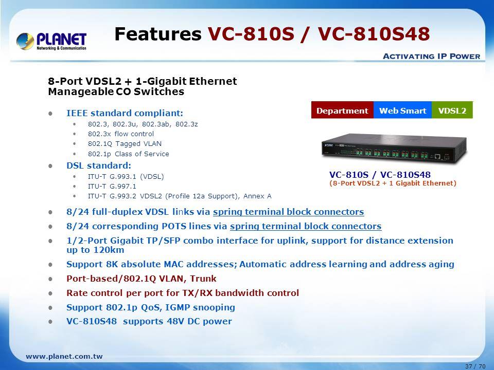 www.planet.com.tw 37 / 70 Features VC-810S / VC-810S48 8-Port VDSL2 + 1-Gigabit Ethernet Manageable CO Switches IEEE standard compliant: 802.3, 802.3u