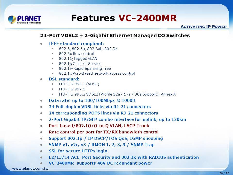 www.planet.com.tw 38 / 70 Features VC-2400MR 24-Port VDSL2 + 2-Gigabit Ethernet Managed CO Switches IEEE standard compliant: 802.3, 802.3u, 802.3ab, 8