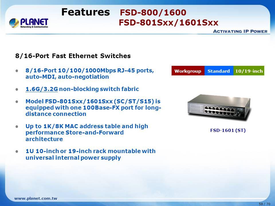 www.planet.com.tw 58 / 70 Features FSD-800/1600 FSD-801Sxx/1601Sxx 8/16-Port Fast Ethernet Switches 8/16-Port 10/100/1000Mbps RJ-45 ports, auto-MDI, a