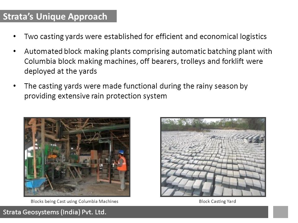 Strata Geosystems (India) Pvt. Ltd. Two casting yards were established for efficient and economical logistics Automated block making plants comprising