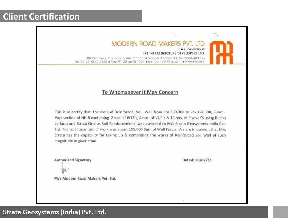 Strata Geosystems (India) Pvt. Ltd. Client Certification