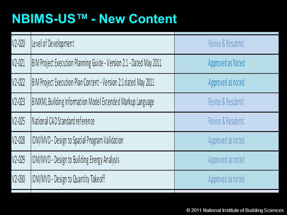 © 2011 National Institute of Building Sciences NBIMS-US™ - New Content