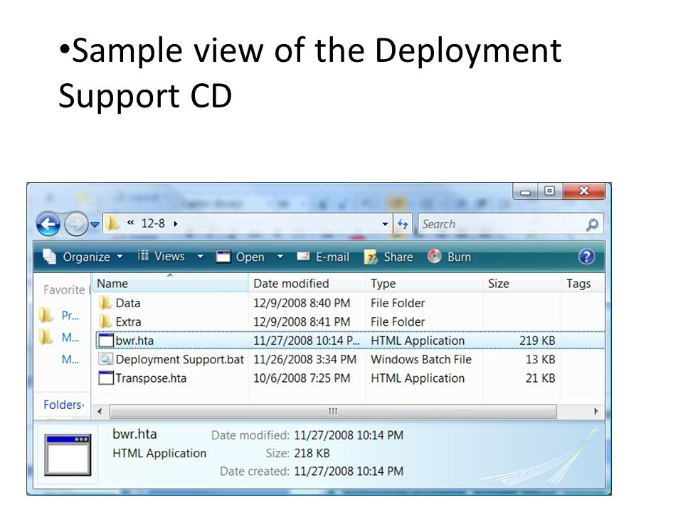 Sample view of the Deployment Support CD