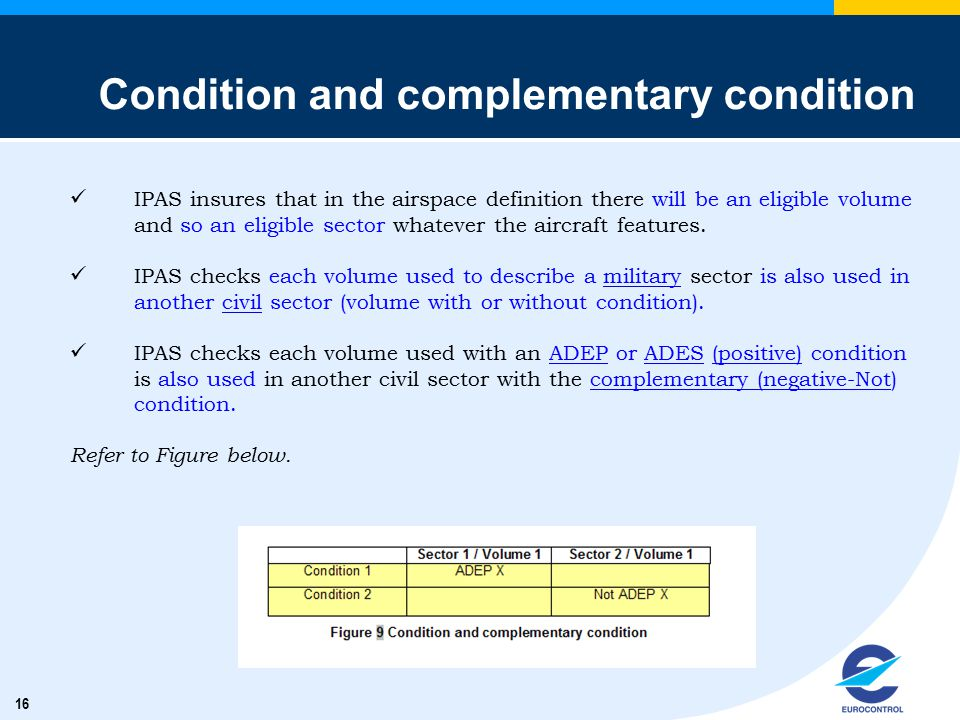 16 Condition and complementary condition IPAS insures that in the airspace definition there will be an eligible volume and so an eligible sector whate