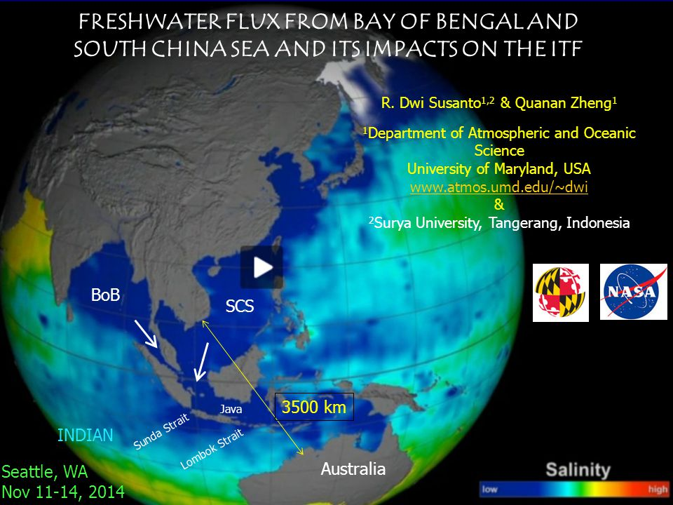 FRESHWATER FLUX FROM BAY OF BENGAL AND SOUTH CHINA SEA AND ITS IMPACTS ON THE ITF R.