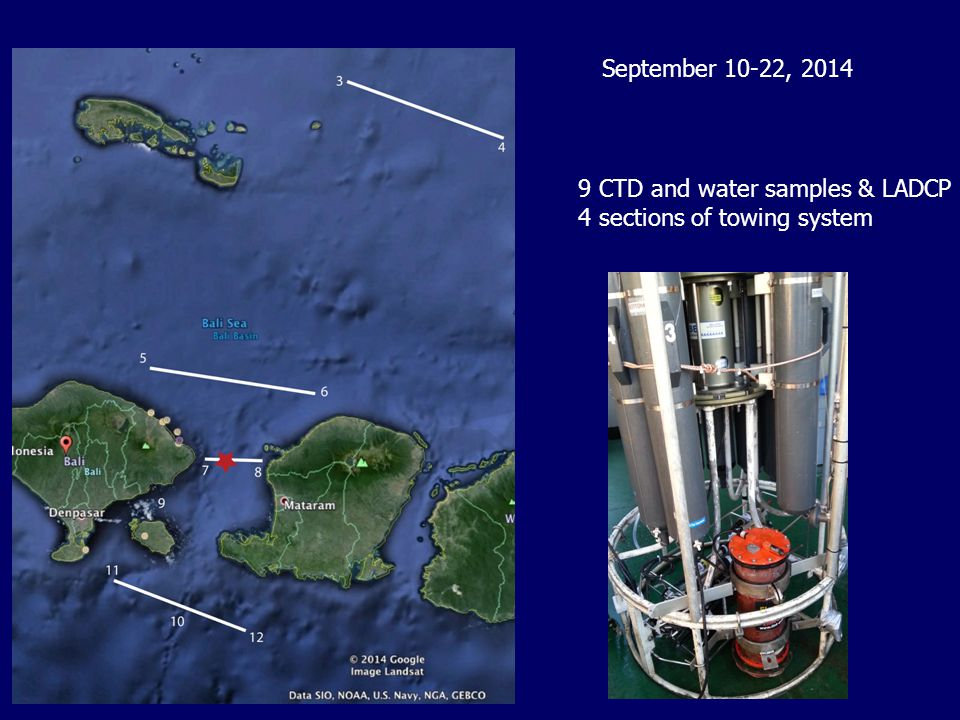 9 CTD and water samples & LADCP 4 sections of towing system September 10-22, 2014