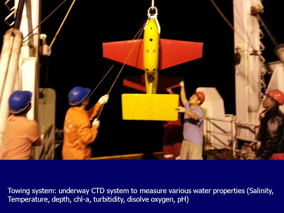 Towing system: underway CTD system to measure various water properties (Salinity, Temperature, depth, chl-a, turbitidity, disolve oxygen, pH)