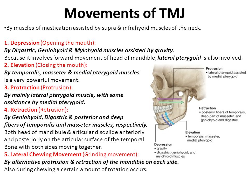 Movements of TMJ By muscles of mastication assisted by supra & infrahyoid muscles of the neck. 1. Depression (Opening the mouth): By Digastric, Genioh