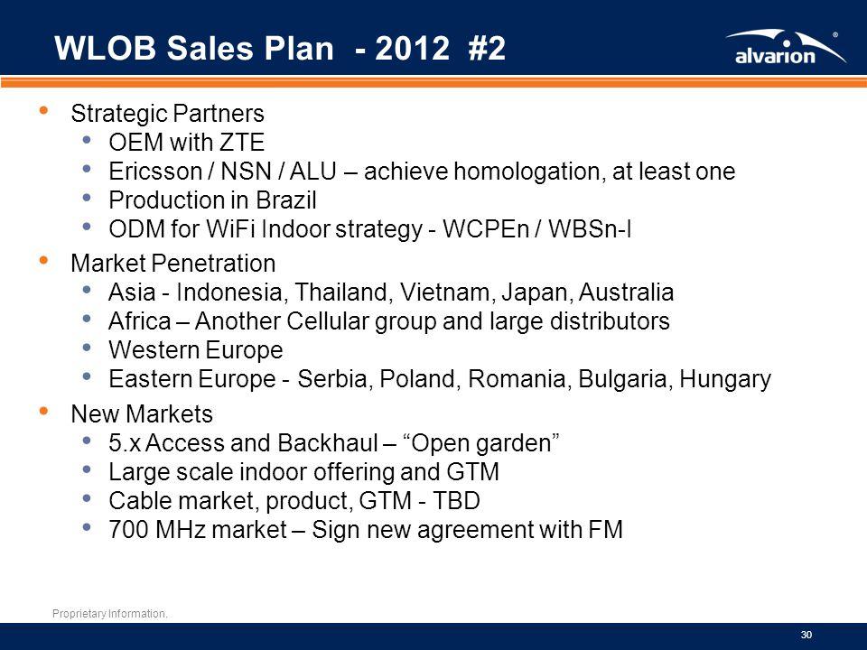 Proprietary Information. 30 WLOB Sales Plan - 2012 #2 Strategic Partners OEM with ZTE Ericsson / NSN / ALU – achieve homologation, at least one Produc