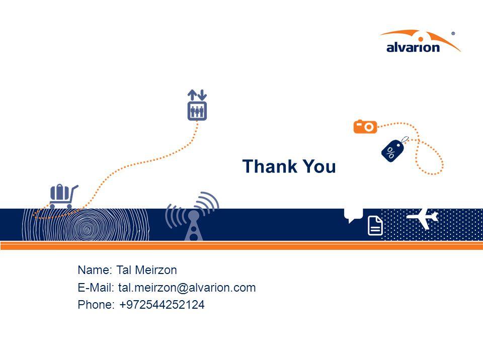 Thank You Name: Tal Meirzon E-Mail: tal.meirzon@alvarion.com Phone: +972544252124
