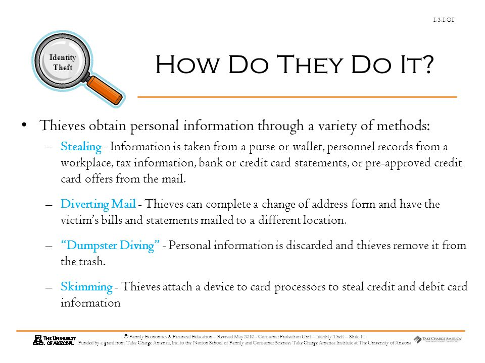 1.3.1.G1 Identity Theft © Family Economics & Financial Education – Revised May 2010– Consumer Protection Unit – Identity Theft – Slide 11 Funded by a grant from Take Charge America, Inc.
