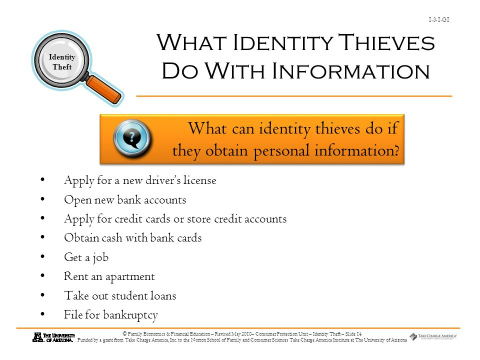 1.3.1.G1 Identity Theft © Family Economics & Financial Education – Revised May 2010– Consumer Protection Unit – Identity Theft – Slide 14 Funded by a