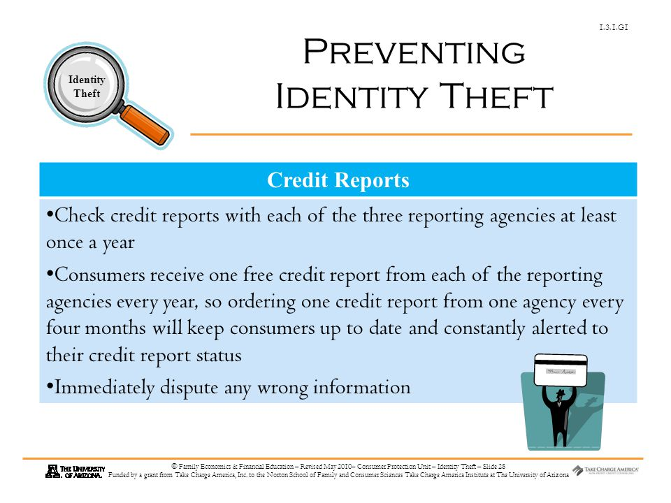 1.3.1.G1 Identity Theft © Family Economics & Financial Education – Revised May 2010– Consumer Protection Unit – Identity Theft – Slide 28 Funded by a grant from Take Charge America, Inc.