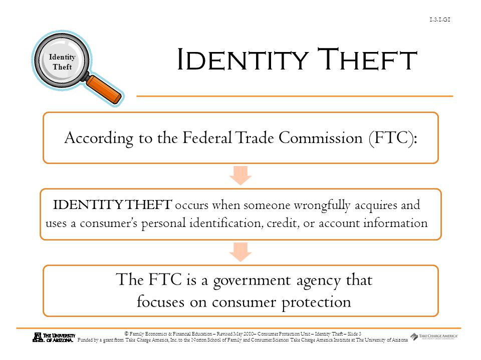 1.3.1.G1 Identity Theft © Family Economics & Financial Education – Revised May 2010– Consumer Protection Unit – Identity Theft – Slide 3 Funded by a g