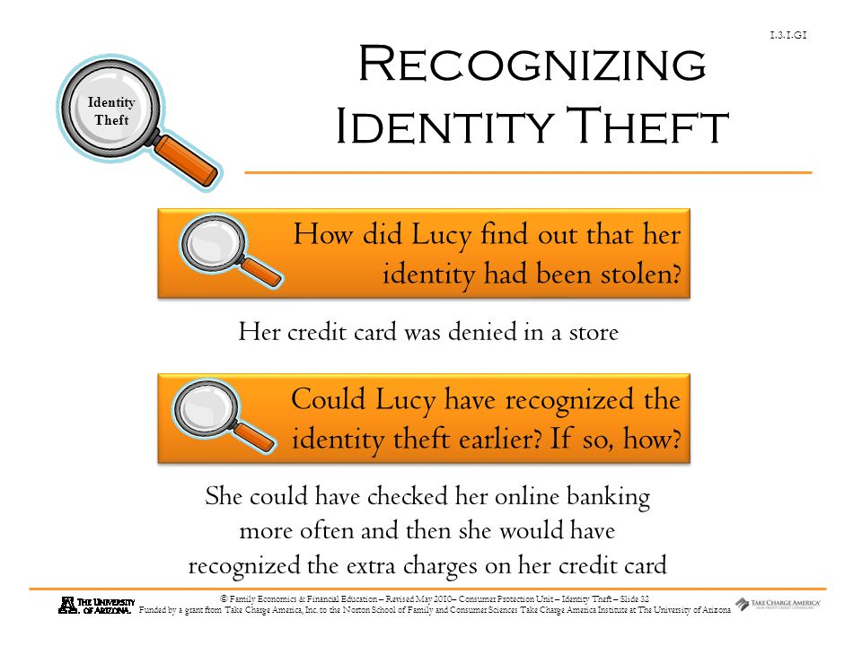 1.3.1.G1 Identity Theft © Family Economics & Financial Education – Revised May 2010– Consumer Protection Unit – Identity Theft – Slide 32 Funded by a