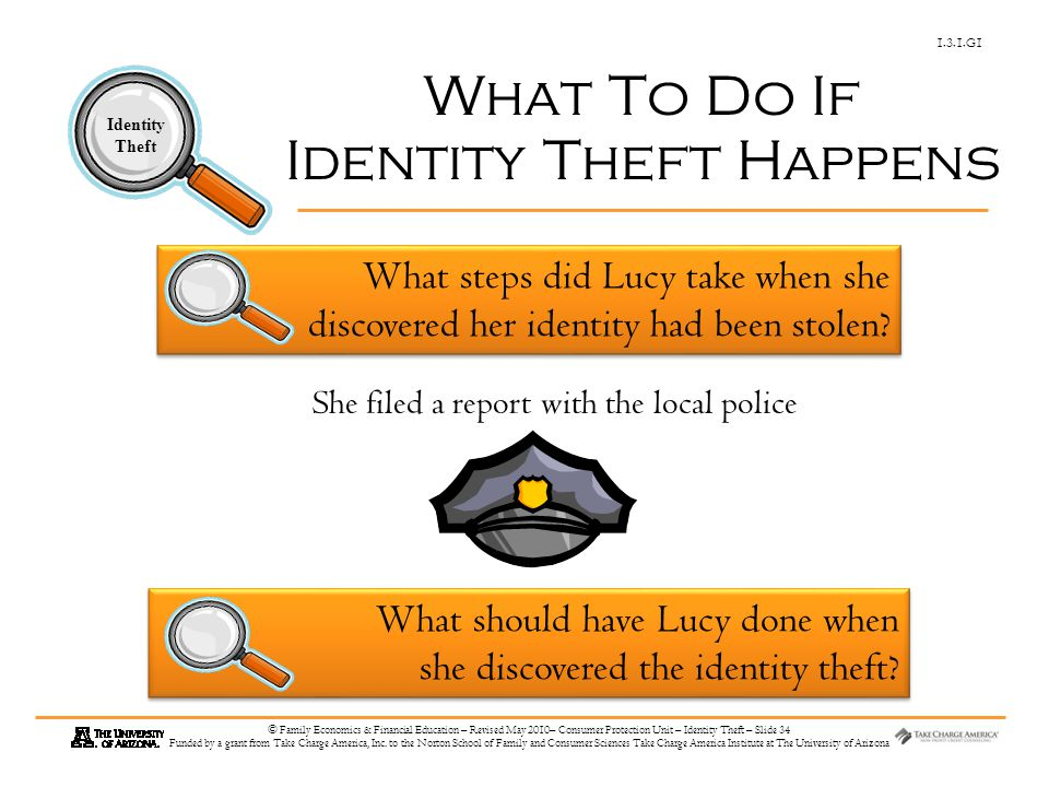 1.3.1.G1 Identity Theft © Family Economics & Financial Education – Revised May 2010– Consumer Protection Unit – Identity Theft – Slide 34 Funded by a grant from Take Charge America, Inc.