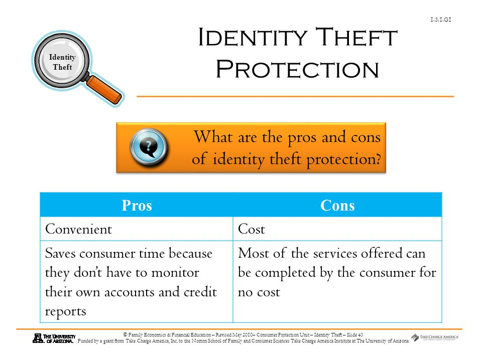 1.3.1.G1 Identity Theft © Family Economics & Financial Education – Revised May 2010– Consumer Protection Unit – Identity Theft – Slide 43 Funded by a grant from Take Charge America, Inc.