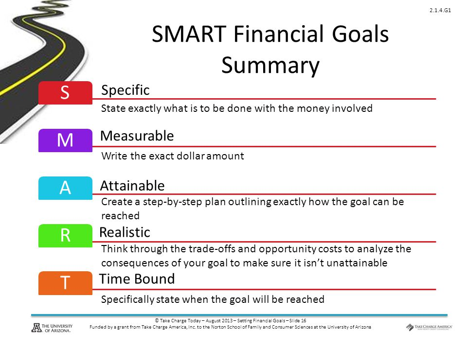 © Take Charge Today – August 2013 – Setting Financial Goals – Slide 16 Funded by a grant from Take Charge America, Inc.