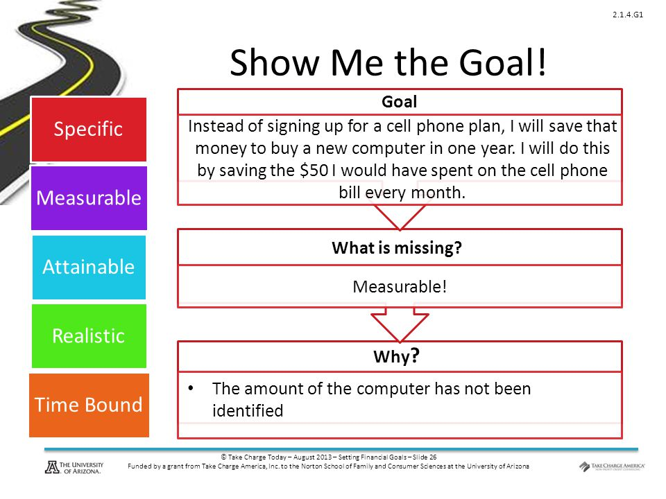 © Take Charge Today – August 2013 – Setting Financial Goals – Slide 26 Funded by a grant from Take Charge America, Inc.