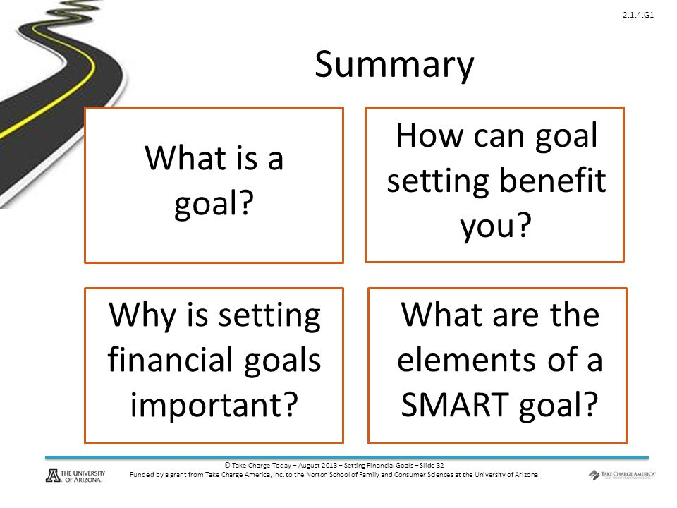 © Take Charge Today – August 2013 – Setting Financial Goals – Slide 32 Funded by a grant from Take Charge America, Inc. to the Norton School of Family