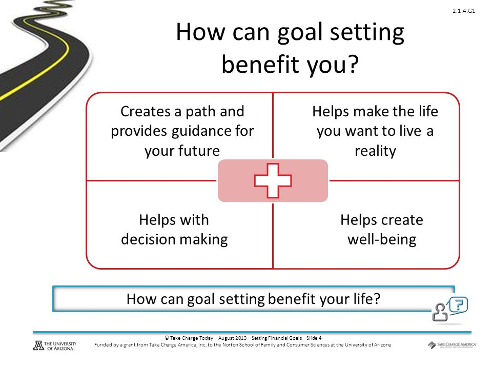 © Take Charge Today – August 2013 – Setting Financial Goals – Slide 4 Funded by a grant from Take Charge America, Inc. to the Norton School of Family