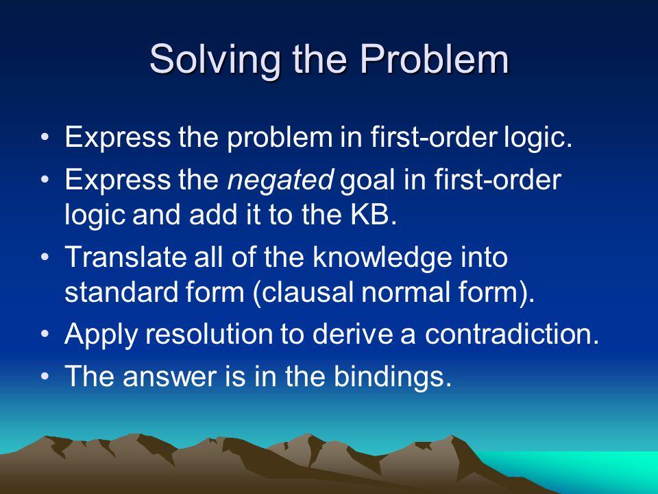 Describing the Problem Goblins /gremlins mutually exclusive… –  x Gob(x)   Grem(x) –  x Grem(x)   Gob(x) One goblin… –Gob(G1)  Gob(G2)  Gob(G3) Two gremlins… –(Grem(G1)  Grem(G2))  (Grem(G1)  Grem(G3))  (Grem(G1)  Grem(G3))