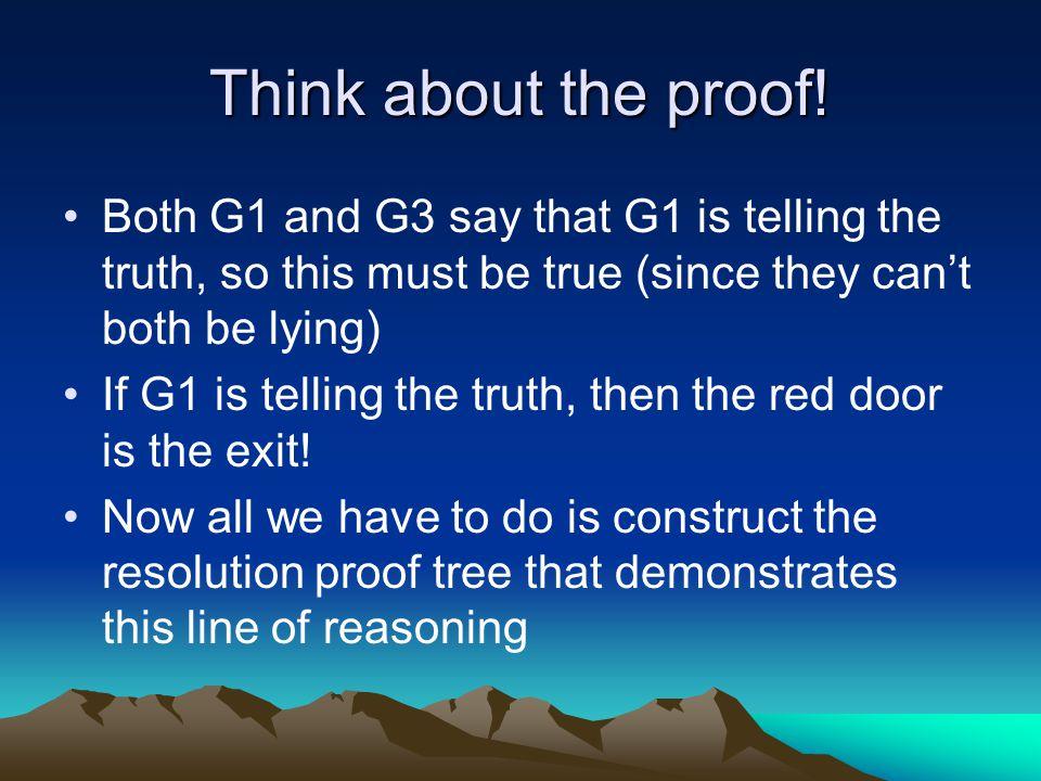 Resolution Proof Tree  Grem(G3)  Grem(G1)Grem(G3)  Grem(G1) Grem(G1)  Grem(G1)  Exit(Red) Exit(Red)  Exit(e) FALSE {e/Red}