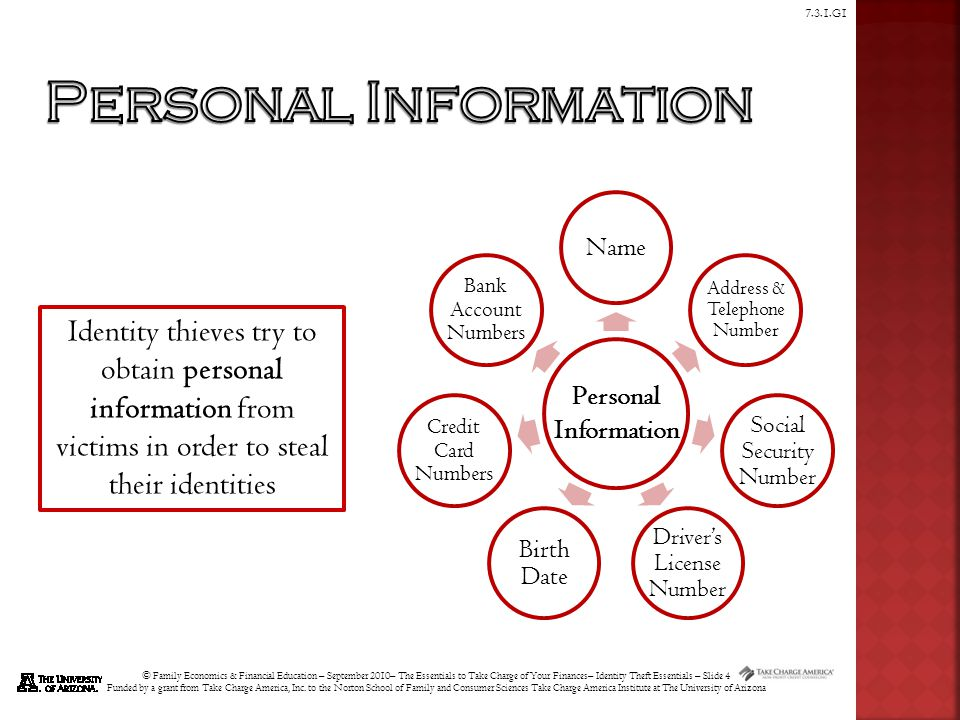© Family Economics & Financial Education – September 2010– The Essentials to Take Charge of Your Finances– Identity Theft Essentials – Slide 15 Funded by a grant from Take Charge America, Inc.