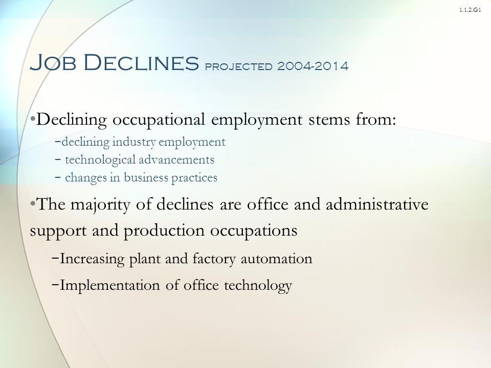 1.1.2.G1 Job Declines projected 2004-2014 Declining occupational employment stems from: − declining industry employment − technological advancements − changes in business practices The majority of declines are office and administrative support and production occupations − Increasing plant and factory automation − Implementation of office technology
