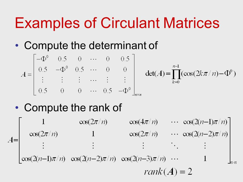 Examples of Circulant Matrices Compute the determinant of Compute the rank of