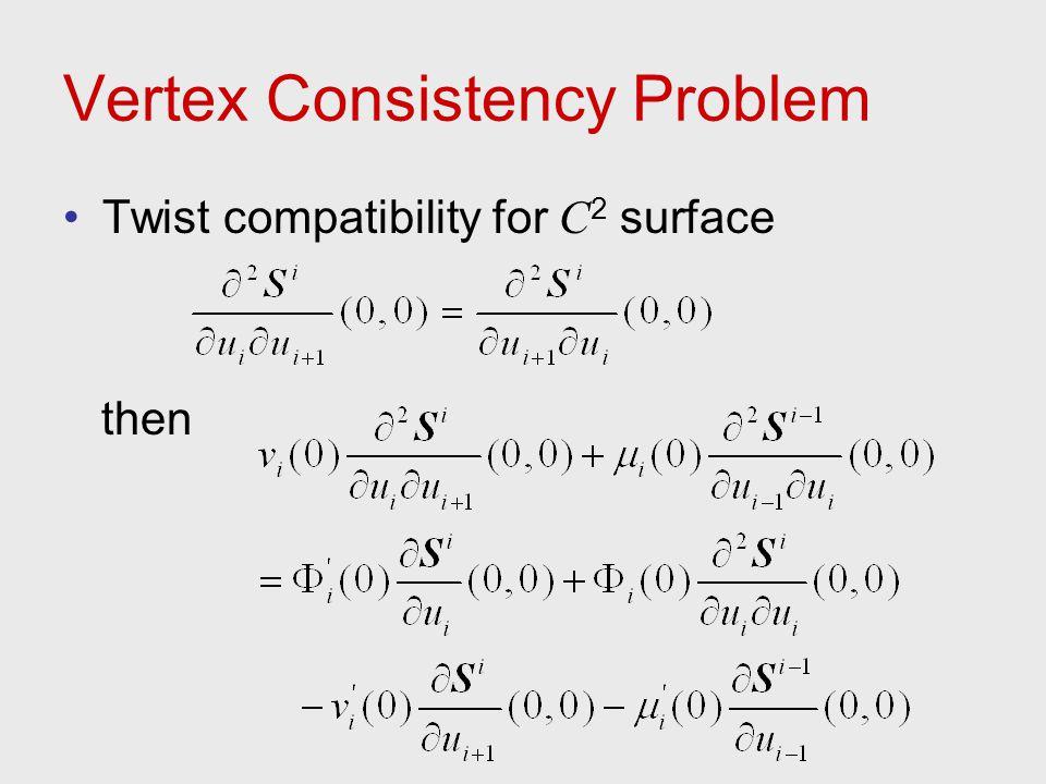 Vertex Consistency Problem Twist compatibility for C 2 surface then