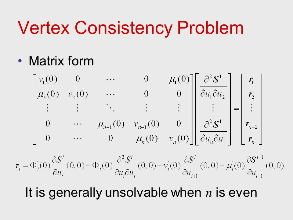 Vertex Consistency Problem Matrix form It is generally unsolvable when n is even