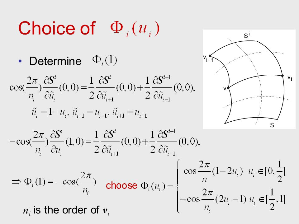 Choice of Determine n i is the order of v i