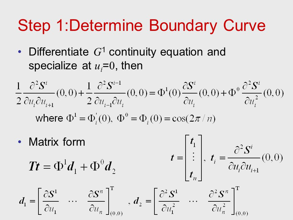 Step 1:Determine Boundary Curve Differentiate G 1 continuity equation and specialize at u i = 0, then Matrix form