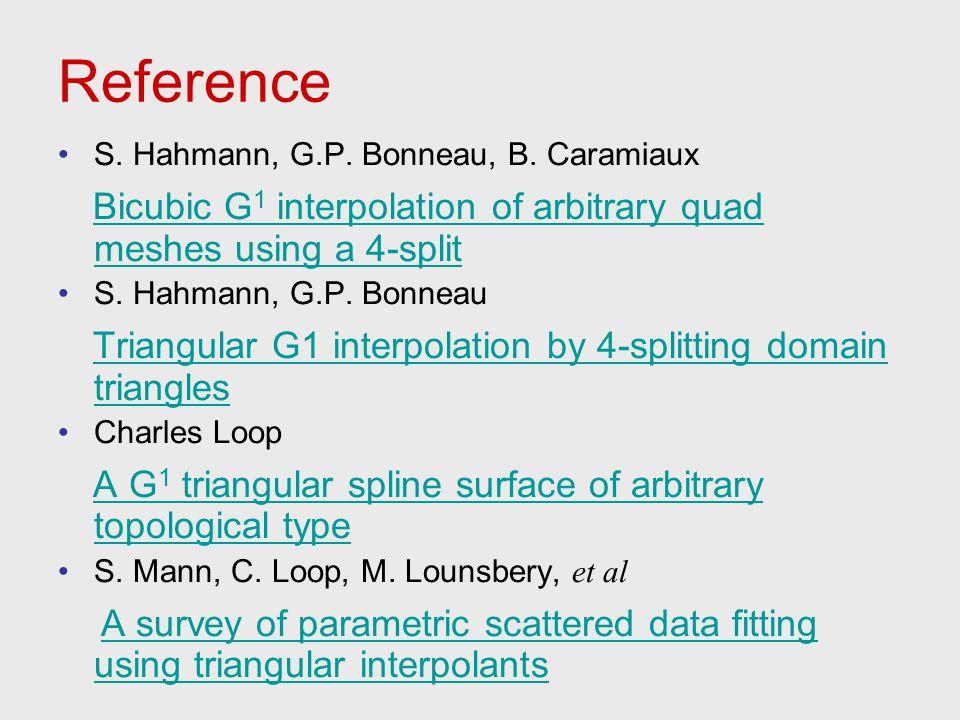Reference S. Hahmann, G.P. Bonneau, B. Caramiaux Bicubic G 1 interpolation of arbitrary quad meshes using a 4-split S. Hahmann, G.P. Bonneau Triangula