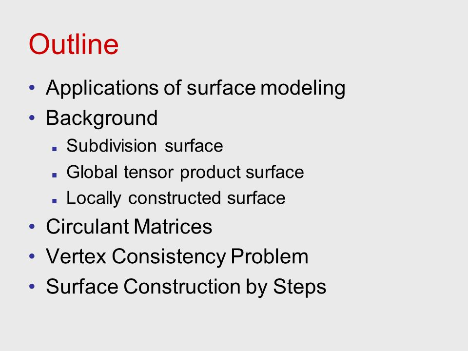Outline Applications of surface modeling Background Subdivision surface Global tensor product surface Locally constructed surface Circulant Matrices V