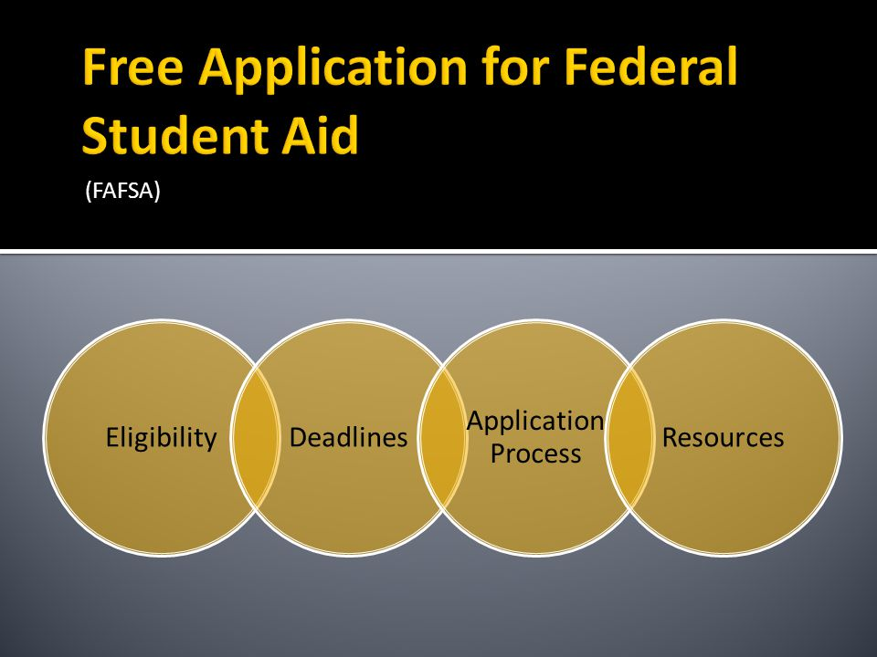 (FAFSA) EligibilityDeadlines Applicatio n Process Resources