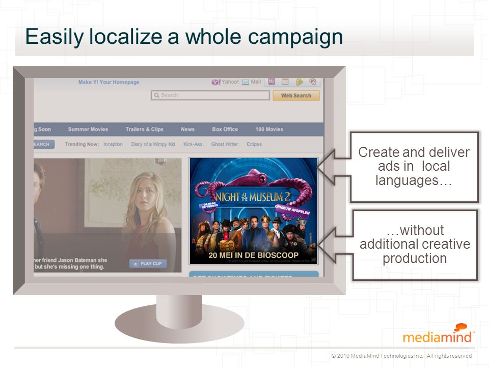 © 2010 MediaMind Technologies Inc. | All rights reserved Easily localize a whole campaign Create and deliver ads in local languages… …without addition