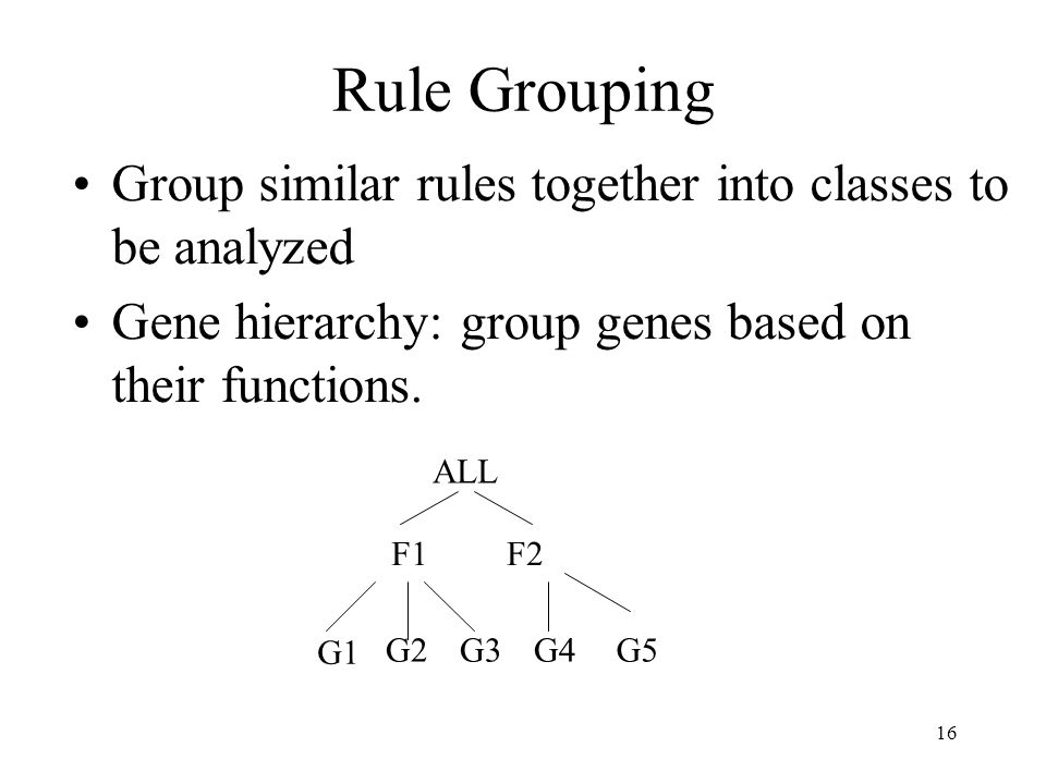 16 Rule Grouping Group similar rules together into classes to be analyzed Gene hierarchy: group genes based on their functions. ALL F1F2 G1 G2G3G4G5
