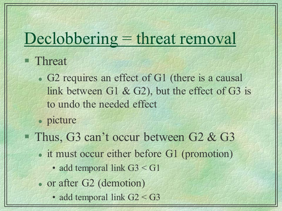 Declobbering = threat removal §Threat l G2 requires an effect of G1 (there is a causal link between G1 & G2), but the effect of G3 is to undo the need