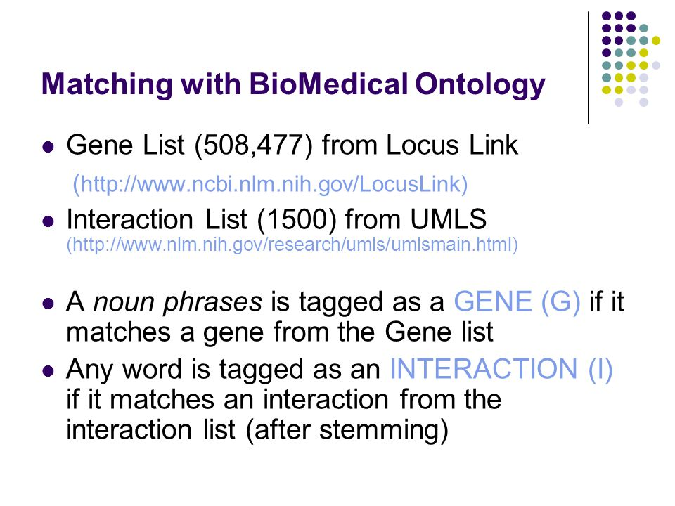 Matching with BioMedical Ontology Gene List (508,477) from Locus Link ( http://www.ncbi.nlm.nih.gov/LocusLink) Interaction List (1500) from UMLS (http://www.nlm.nih.gov/research/umls/umlsmain.html) A noun phrases is tagged as a GENE (G) if it matches a gene from the Gene list Any word is tagged as an INTERACTION (I) if it matches an interaction from the interaction list (after stemming)