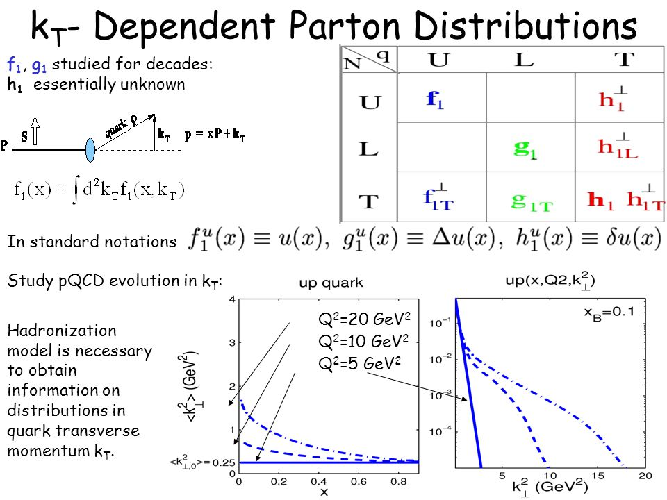 20 k T - Dependent Parton Distributions f 1, g 1 studied for decades: h 1 essentially unknown In standard notations Study pQCD evolution in k T : Q 2 =5 GeV 2 Q 2 =10 GeV 2 Q 2 =20 GeV 2 Hadronization model is necessary to obtain information on distributions in quark transverse momentum k T.