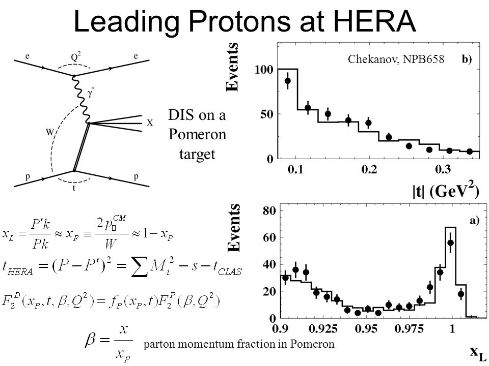 57 Leading Protons at HERA DIS on a Pomeron target parton momentum fraction in Pomeron Chekanov, NPB658